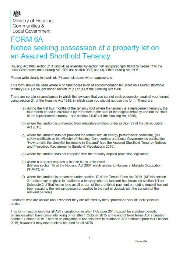 Embark Form 6A: Section 21 Notice for a no fault possession on an assured shorthold tenancy issue